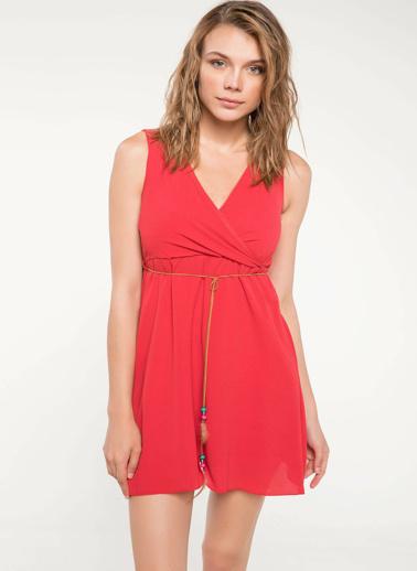 DeFacto Beli Büzgü Detaylı Anvelop Elbise Kırmızı
